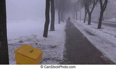 dark winter morning mist in street - dark winter morning...