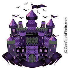 Dark Witch castle, vector