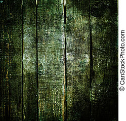 Dark wood background. Green old wooden texture