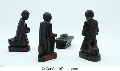 Dark wood Christian Nativity Scene of Jesus and the three...