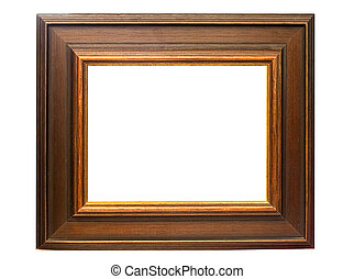 Dark Wooden Picture Frame with Clipping Path