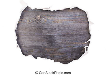 Dark wooden surface torn paper