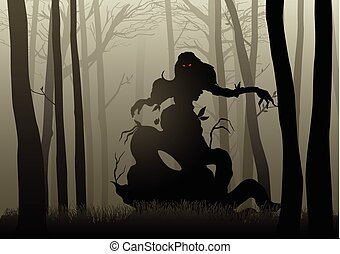 Dark Woods Monster - Silhouette illustration of a scary...
