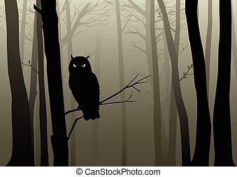 Dark Woods - Silhouette of an owl in the misty woods