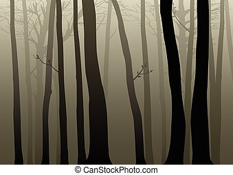 Dark Woods - Vector illustration of misty dark woods