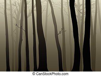 Dark Woods - Vector illustration of misty dark woods