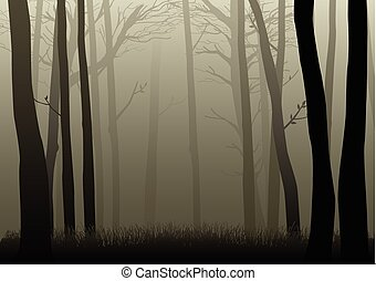 Vector illustration of misty woods