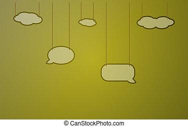 dark yellow background with speak bubbles