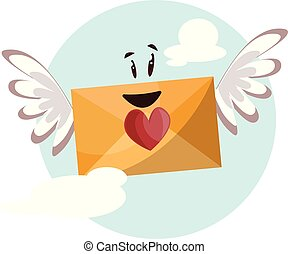 Dark yellow envelope with a red heart and wings smiling vector illustrtation in light blue circle on white background.