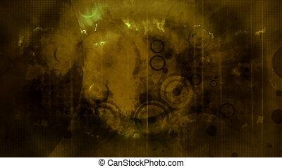 Dark yellow grunge retro background loop