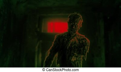 Dark zombie entered the room of abandoned house animation.