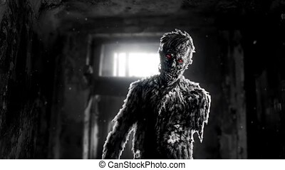 Dark zombie with red eyes entered the room. An abandoned...