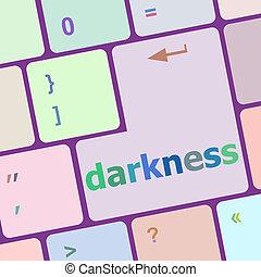 darkeness word on computer keyboard key