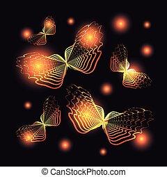 darkness., πορτοκάλι , πεταλούδες , ιπτάμενος