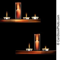 darkness and burning candles - dark background and burning...
