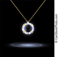 dark background and jewelry chains and pendant