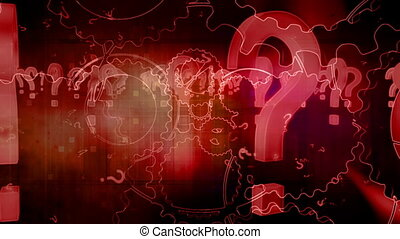 Darkness and red question marks and gears looping CG animated background