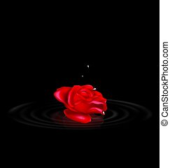 darkness and the abstract red rose with black drops