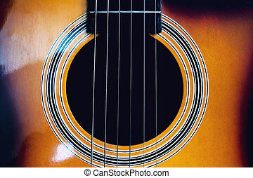 Darkness inside an acoustic guitar close up, abstrackt ...