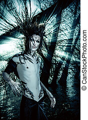 darkness - Man-tree in a wild wood. Art project. Fantasy....