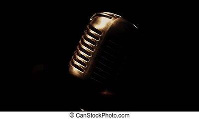darkness., microphone, concert, métal, club., retro, étape, scintillement, stand