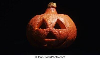 darkness., symbole, prise vue., halloween, o, closeup, cric, lanterne, apparaît, dehors