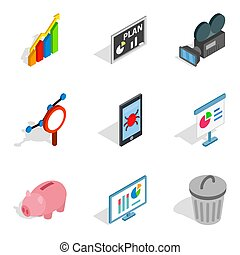 Darknet icons set, isometric style - Darknet icons set....