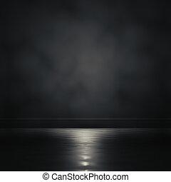 Darkroom. - 3d rendering focus light in a dark room.