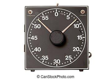 Detailed vintage darkroom timer isolated over white