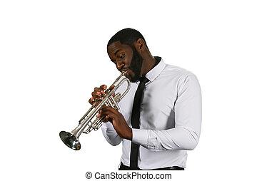 Darksinned musician with a trumpet.