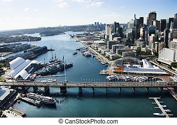 Darling Harbour, Australia. - Aerial view of Darling Harbour...