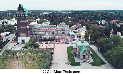 Darmstadt Orthodox Church in summer season, Germany. View from drone.
