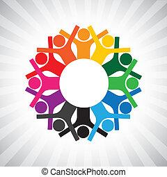 darstellen, andersartigkeit, einfache , graphic., kinder, personal, vereint, auch, besitz, angestellter, kreis, glücklich, collaborative, abbildung, versammlung, hands-, arbeiter, dieser, oder, usw, vektor, buechse, spielende , geschäftsführung
