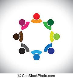 darstellen, begriff, geschäftsführung, kindergruppe, auch, angestellter, versammlung, buechse, group., bunte, diskussion, grafik, dieser, zusammen, spielende , usw, vektor, multi-ethnisch, mannschaft, korporativ, oder
