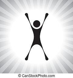 darstellen, einfache , graphic., person, leistung, usw, gewinner, individuum, gewinnen, auch, aufgeregt, begeistert, freude, nach, abbildung, springende , challenge-, honigraum, dieser, konkurrenz, person, vektor, buechse