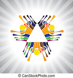 darstellen, einfache , graphic., together-, kinder, leute, stimmung, &, auch, gemeinschaftsarbeit, angestellter, demonstration, abbildung, kinder, dieser, leute, haben, vektor, spielende , buechse, mannschaft, spaß, oder