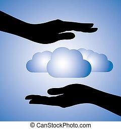 darstellen, grafik, begriff, silhouette, informationen, dieser, schutz, enthält, computing)., abbildung, data(cloud, symbols., buechse, frau reicht, schuetzen, sicherheit, hülle, daten, wolke
