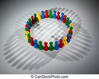darstellen, vernetzung, gruppe, gesellschaft, leute, arbeit, andersartigkeit, multikulti, sozial, mannschaft, togetherness, mehrfarbig