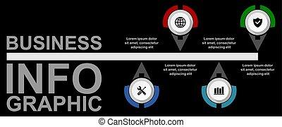 darstellung, gewebe geschäft, 4, optionen, infographic, vektor, diagramm, schablone, timeline
