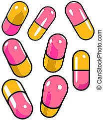 darstellung, graphisch, pillen, 8