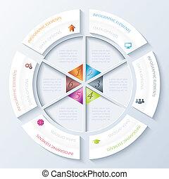 darstellung, workflow, design, optionen, abstrakt, gebraucht, kreis, bildung, segments., design, vektor, infographic, diagramm, sechs, grafik, abbildung, zahlen, plan, sein, web, oder, buechse
