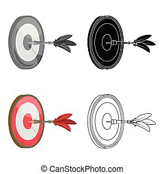 Dart and a target for darts. The game of darts single icon in cartoon style vector symbol stock illustration web.