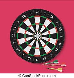 Dart and dartboard. Vector Illustration.
