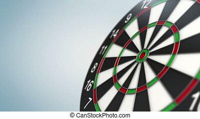 Dart arrow in bull's-eye