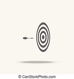 Dart board and arrow in the middle flat design vector icon with shadow, business sign, target, Business successful