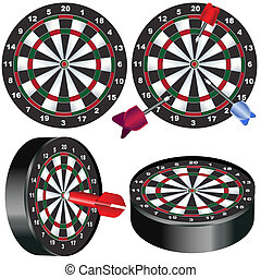 Dart board - Illustration of a dart board in different...