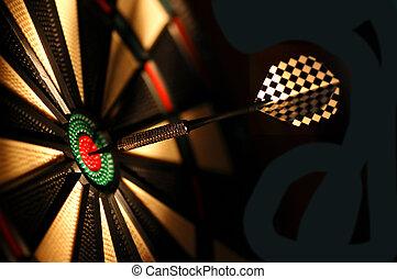 Dart board in bar - One arrow in the centre of a dart board...