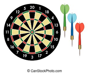 dart board with 3 darts, green, blue and red on white...
