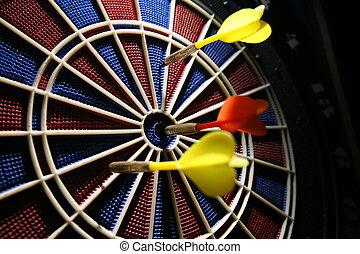 dart boart with three darts - dart board in the bar