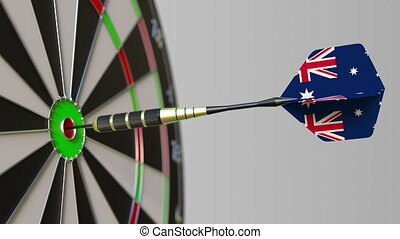 Dart featuring flag of Australia hits bullseye of the...